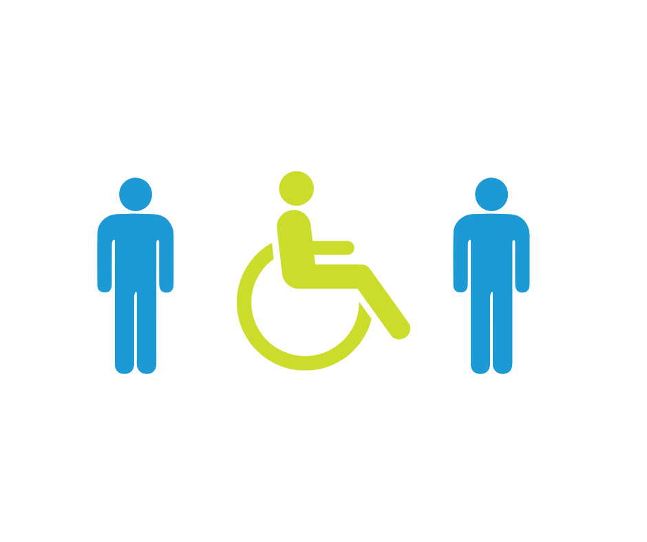stick people standing and in wheelchair