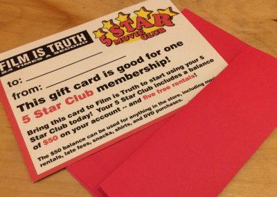 Five Star Club Gift Certificate