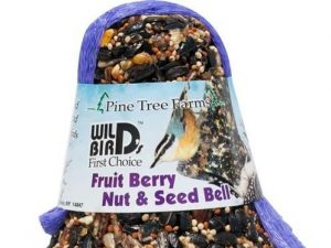 A bell-shaped bird feeder made of fruits, berries, nuts, and seeds.
